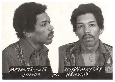 Jimi Hendrix's mug shot